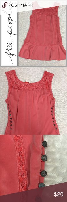 Anthropologie Free People Shirt Like New Free People Shirt from Anthropologie. Coral color, enhanced with Lace and brass buttons down the side, ruffled drop waist. Check out my closet with other Free People clothing to save on shipping. Free People Tops