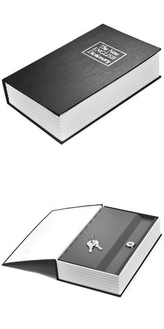 This compact lock box is disguised to appear like a normal hard back English dictionary, but opening the front cover reveals a lockable steel compartment. The exterior cover of the Hidden Dictionary Lock Box is made of real paper, allowing it to blend in easily with other books.