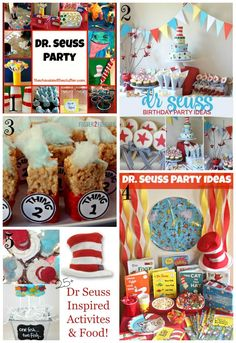 Fun Roundup of Ideas to Host a Dr. Suess Party - Crafty Mama in ME! Dr Seuss Cake, Dr Suess, Activities For 1 Year Olds, Educational Activities For Kids, Baby Shower Printables, Baby Shower Themes, Shower Ideas, Dr Seuss Birthday Party, Birthday Parties