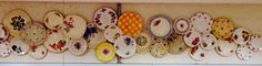 Quirky vintage plates wall display