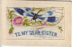 Military Silk Embroidered WWI Postcard 'to My Dear Sister' Women In France, Dear Sister, World War One, Embroidered Silk, Wwi, Vintage Postcards, Ephemera, Pop Art, Sisters