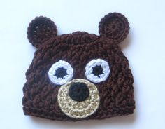 A cute bear hat for your little snuggle bear! This bear beanie is made from soft, lightweight acrylic yarn, which is machine washable and dryable (I