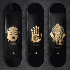 Theses would look great with black and golden colored bushing Ventures and black Rictas, and then placed on a wall in your living room. Skateboard Deck Art, Skateboard Design, Bmx, Long Skate, Longboard Design, Cool Skateboards, Complete Skateboards, Sup Yoga, Skate Art