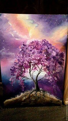 Purple tree painting idea with stormy dark sky. Purple tree painting idea with stormy dark sky. Drawing Artwork, Art Painting, Sky Painting, Spray Paint Art, Watercolor Paintings, Dark Tree, Tree Art, Tree Painting, Painting
