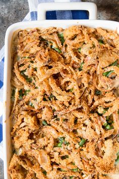 Classic green bean casserole with fried onion topping. From scratch. Make-ahead. So much better than canned.