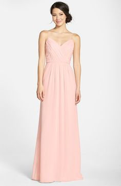 Free shipping and returns on Jim Hjelm Occasions Draped V-Neck A-Line Chiffon Gown at Nordstrom.com. Soft pleats drape the surplice bodice and floor-skimming skirt of a romantic chiffon gown suspended from slender straps to showcase gorgeous, glowing skin.
