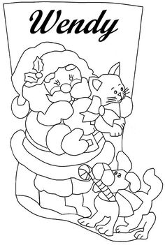 SANTA. GATO Y PERRO2 Handmade Ornaments, Handmade Christmas, Felt Stocking, Christmas Projects, Needlepoint, Smurfs, Christmas Stockings, Embroidery Designs, Sewing Patterns