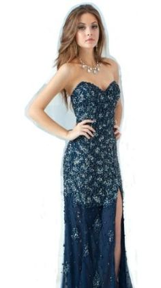 Jovani 4247 Navy Beaded Shimmering Evening Gown Prom Formal 0 4 6 8 New