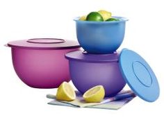 My.Tupperware.com/heidibaldwin Fabulous new colors for The Impressions Bowl set! Our line of translucent, textured serving, storing and food prep bowls do it all with style. Each bowl's decorative rim provides a comfortable grip and is inclined for easy pouring. Best of all, the entire set can nest in the big bowl for compact storage!    Set of 3 bowls with seals.  5-1/2-cup/1.2 L, 10-cup/2.5 L, and 18-cup/4.2 L capacities  Dishwasher safe.  In Purplicious/Hyacinth/Berry Bliss.