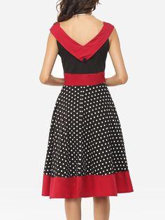 Color Block Polka Dot Decorative Buttons Exquisite V Neck Skater-dress