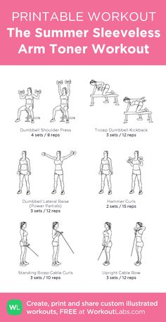 The Summer Sleeveless Arm Toner Workout · WorkoutLabs Fit - The Summer Sleeveless Arm Toner Workout: my custom printable workout by # - Gym Workout Plan For Women, Gym Workouts Women, Lifting Workouts, Gym Workout For Beginners, Workout Plans, Arm Day Workout, Free Weight Arm Workout, Chest And Arm Workout, Printable Workouts