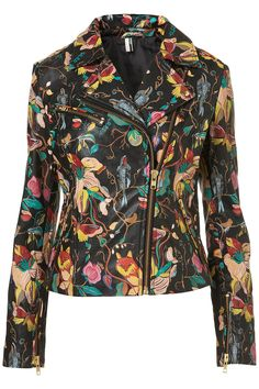 Oh! Printed leather biker jacket from Topshop.
