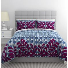 New in retail package. Republic by Idea Nuova Shanti Queen Size 3 piece Duvet / Comforter Cover Set in an abstract blue design with magenta floral applique. Duvet Bedding, Comforter Sets, Duvet Sets, Comforter Bedding Sets, Bed, Duvet Cover Sets, Pretty Duvet Covers, Bedding Sets, Blue Comforter