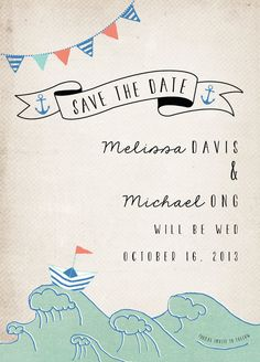 Rustic Wedding Save the Date Card - Nautical, illustrated, casual wedding, nautical wedding, anchor, waves, save the date postcard. $60.00, via Etsy.