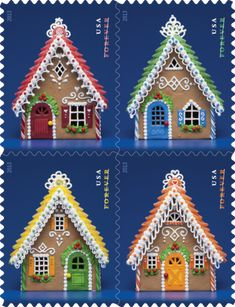 2013 First-Class Forever Stamp - Imperforate Contemporary Christmas: Gingerbread Houses Gingerbread Village, Christmas Gingerbread House, Christmas Treats, Christmas Baking, Gingerbread Cookies, Christmas Cookies, Christmas Holidays, Christmas Cards, Xmas