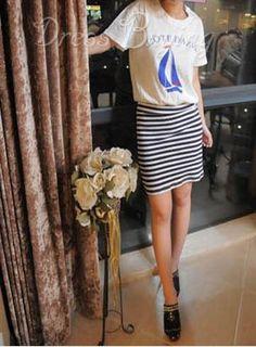 Chic Sailing Boat Printed Stripe Slim Dress White
