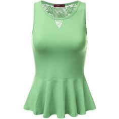 Sleeveless Back Lace Ruffled Peplum Tank Top ($14) ❤ liked on Polyvore featuring tops, sleeveless tops, green peplum top, lace peplum top, green tank top and peplum tops