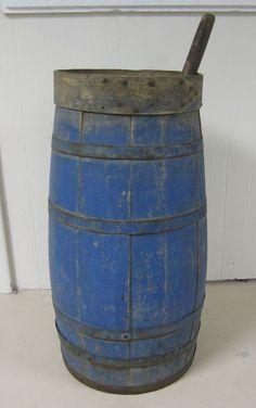 Antique Ovoid Shaker Wooden Butter Churn Original Blue Paint