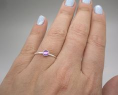 Minimalist jewelry. Dainty jewelry. Sterling silver and amethyst (other stones available) ring, knuckle ring, midi ring by AnnieLesperance, $18.00