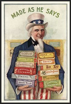 WWI-era advertisement, implying that the products held by Uncle Sam are somehow government approved Vintage Labels, Vintage Ephemera, Vintage Cards, Vintage Postcards, Vintage Images, Poster Vintage, Vintage Prints, Patriotic Pictures, Book Labels
