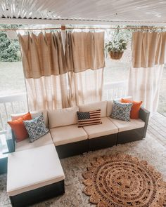 Here's to the year we learned what it takes to turn a house into a home. Porch Curtains, Outdoor Curtains, Stained Concrete Porch, Industrial Style Desk, Tile Accent Wall, Pvc Panels, Picture Frame Molding, Under Decks, House Trim