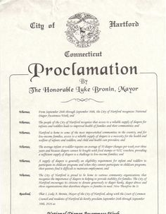 Hartford, CT - Mayoral proclamation recognizing Diaper Need Awareness Week (Sept. 26 - Oct. 2, 2016) #DiaperNeed www.diaperneed.org