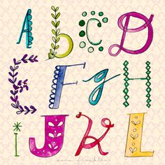 Lettering Lineup A-L: Follow the Letter A Day Project by Sara Franklin on her blog: www.sarafranklindesign.com/blog