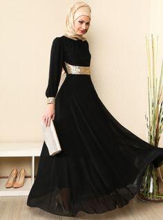 Yakasi And Menset Gold Chiffon Abiye Dress - Black - MODAYSA
