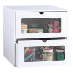 2-Drawer Organizer Cube - Classic White - Craft Storage