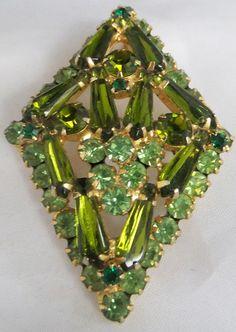 Vintage jewelry brooch rare Juliana/ DeLizza & Elster brooch green from peridot to emerald  rhinestone brooch Sale save 25.oo via Etsy