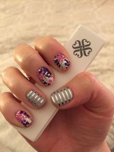 Gray and Silver Horizontal Pinstripe and Glitz! Get this great manicure by shopping jamswithkara.jamberrynails.com  Buy 3 get 4th for FREE!!!