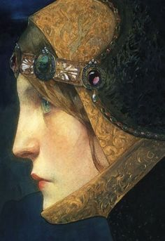 Head of a Lady in Medieval Costume (detail) by Lucien Victor Guirand de Scévola. Pencil and watercolor, 1900.