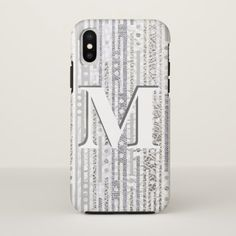 Stripes Dots Silver White ifonX Cool Monogram iPhone X Case - modern gifts cyo gift ideas personalize