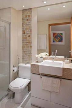 Banheiro de um apartamento, de 49 m². Projeto de Karla Amaral Madrilis.