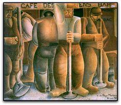 Os calceteiros, 1924, by Vicente do Rego Monteiro (Brazil, 1899–1970) - Palais des Congrès, Liège