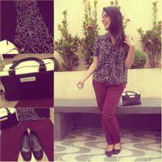 Look do dia: burgundy pants, bw skirt, black flats and black  white bag. Calça vinho (burgundy) com camisa pb, sapatilhas pretas e bolsa preto e branco. Link: http://www.elropero.com/2014/03/fashion-set-calca-burgundy-bolsa-preto-e-branco.html