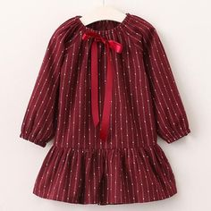 Girls Dress Red Dot Striped Long Sleeve Princess Dresses Ribbons Bow Design for Children Clothing