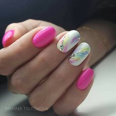 UV-LED combination device, nail accessories - nail art - starter set - UV gel kit - Beautiful Pastel Feather Nail Art With Crystal Accents - Stylish Nails, Trendy Nails, Nail Designs Spring, Nail Art Designs, Nails Design, Latest Nail Designs, Pedicure Designs, Design Design, Design Ideas