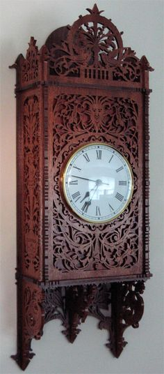 The Cremona wall clock, scroll saw fretwork pattern