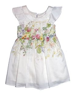 Mayoral Ivory Sateen Cotton Floral Print Girls Fancy Dress from Mayoral - Spain at Pumpkinheads