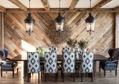 """Jeff Andrews Design : """"This Lake Tahoe retreat by Jeff Andrews infuses the rustic genre with unexpected levels of design sophistication"""" Michael Wollaeger ~ Interiors Magazine Modern Mountain Home, Mountain Homes, Elegant Dining Room, Dining Room Design, Jeff Andrews Design, Timber Feature Wall, Dining Room Feature Wall, Best Website Design, Decoracion Vintage Chic"""