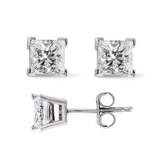 1.25 Ct. Princess Cut Diamond Stud Earrings by McQueen Jewelry (K, I2) Push Back - List price: $1,500.00 Price: $849.99 Saving: $650.01 (43%)