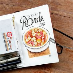 Like a sun shine after the rain, wedang ronde will warm our body on a cold night. Wedang ronde is traditional beverage with kolang kaling, roasted peanuts, slices of bread laughter, and glutinous rice balls. This balls contain crushed grounded peanuts and palm sugar. #watercolorsketch #waterblog #typografi #watercolor #foodsketch #foodillustration #urbansketch #kamisketsa #kotagede #koiwatercolors #wedangronde #kulinerjogja #jogjaculinary Sketch Box, Food Sketch, Watercolor Food, Watercolor Sketch, Map Projects, Cafe Interior Design, Sketch Journal, Food Painting, Asian Desserts