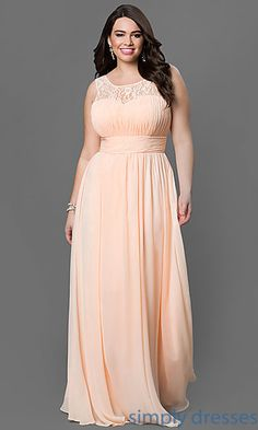Corset Floor Length Chiffon Gown with Lace Neckline