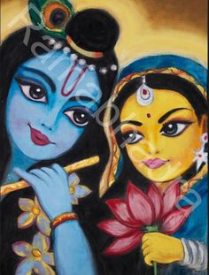 This painting of Krishna and Radha was originally requested by my youngest daughter. Im always amazed by what mothers can accomplish at the behest of their children :) Enjoy! Rasika Please do not shar Krishna Drawing, Krishna Painting, Madhubani Painting, Radha Krishna Pictures, Krishna Images, Hindus, Colorful Drawings, Easy Drawings, Tantra