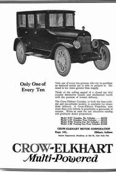 1920 Crow-Elkart Cozedan Automobile Advertisement