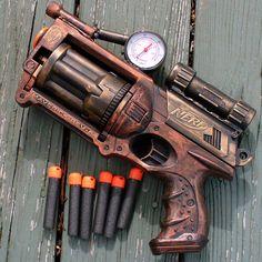 Super cool item from Etsy. Steampunk Gun Nerf Maverick NStrike by oldjunkyardboutique on Etsy.