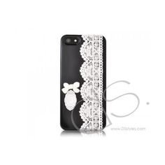 Lace Pearl Series iPhone 5 Cases Bow Black ($24) ❤ liked on Polyvore