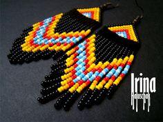 Beaded earrings, seed bead earrings, modern earrings, fringe earrings, beadwork jewelry, indian earrings, earrings for sale by IrinaHaluschak on Etsy