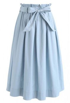 Rose Garden Bowknot Pleated Skirt in Blue - Skirt - BOTTOMS - Retro, Indie and Unique Fashion Source by designingdebbie y faldas Komplette Outfits, Modest Outfits, Skirt Outfits, Casual Outfits, Unique Fashion, Look Fashion, Girl Fashion, Fashion Design, Muslim Fashion